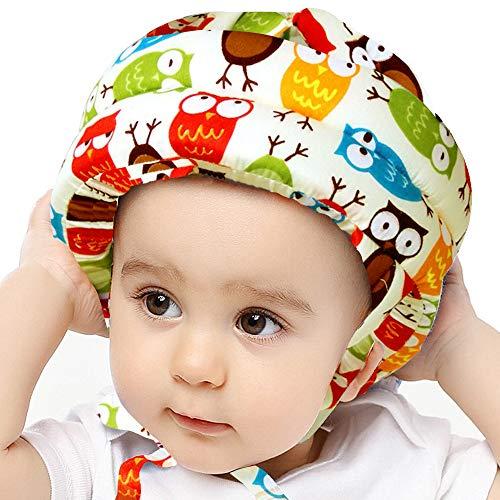 IULONEE Casco de bebé Protector de cabeza infantil Sombrero de protección para niños Casco de seguridad ajustable de algodón (búho amarillo) ✅