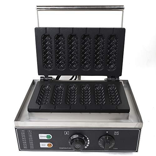 220V 1500W 6 units Kommerzielle nonstick elektrische Lutschbonbon-Waffel-Hersteller-Maschinen, knusperige Maschine Waffeleisen Profi Waffeln Am Stiel Waffelsticks Corn Hot Dogs