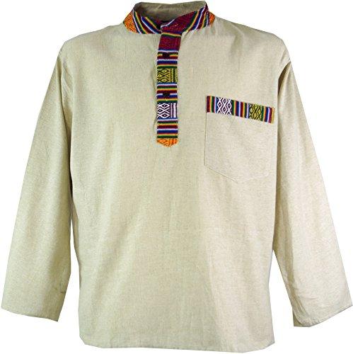 GURU SHOP Nepal Ethno Fischerhemd, Goa Hemd, Herren, Creme, Baumwolle, Size:L, Hemden Alternative Bekleidung