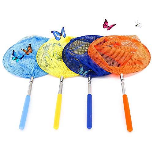 Kinder Schmetterling Net,4er-Pack Schmetterlingsnetz Ausdehnbares Kescher zum Auffangen von Schmetterlingswanzen Insekt Kleine Fische