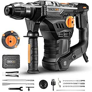 TACKLIFE 1-1/4 Inch SDS-Plus 12.3 Amp Rotary Hammer Drill, 7Joules Impact Energy, 4350BPM, 900RPM, 4 Functions, Vibration ...