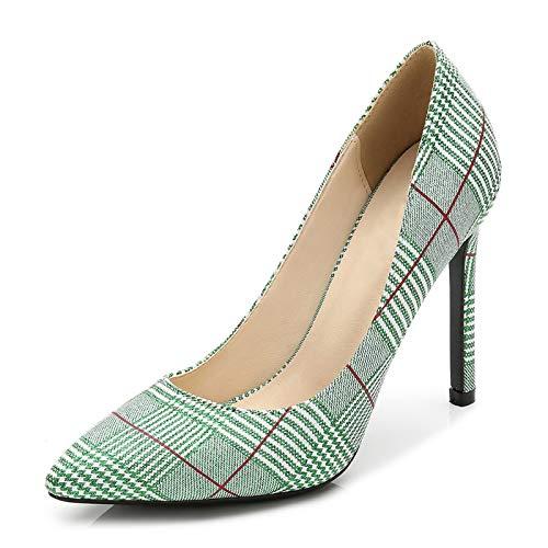 Women's Glitter Pumps Pointed Toe Stiletto High Heels Slip On Plaid Green 41 - US 8.5