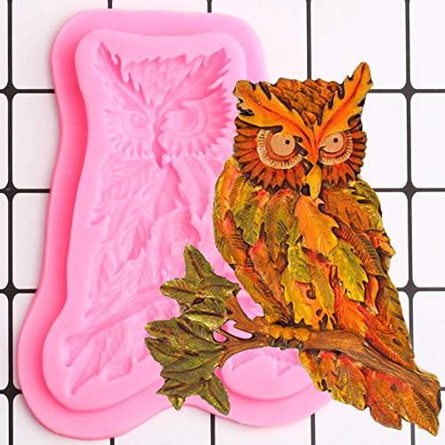 ZIYING Kuchenform 3D Eule Form Silikonform Blatt Kuchen Border Fondant Kuchen Dekorieren Werkzeuge DIY Polymer Clay Candy Chocolate Gumpaste Form