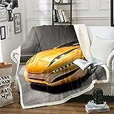 Loussiesd 3D Race Sports - Manta de forro polar para coche, para cama, sofá, coche, manta sherpa, transpirable, de lujo, cálida, cálida y difusa, color amarillo