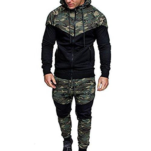 Celucke Trainingsanzuge Herren Jogginganzug Camouflage Army Sportanzug,Jacke Kapuzenjacke Sweatjacke+Hosen Jogginghose
