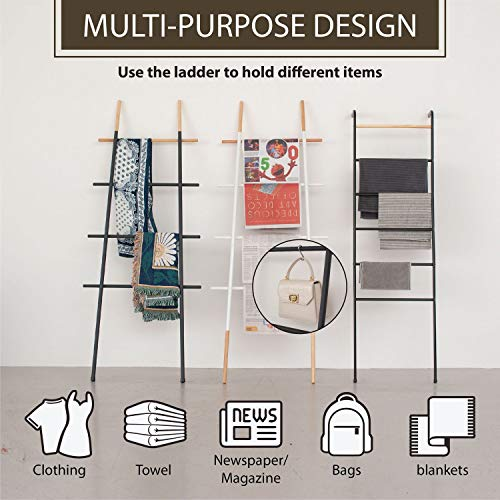Decorative Blanket Ladder for Living Room Bedroom Bathroom, Black