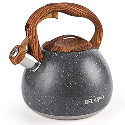 Tea Kettle, 2.7 Quart BELANKO Teapot for Stovetops Wood Pattern Handle with Loud Whistle Food Grade Stainless Steel Tea Pot Water Kettle - Gray