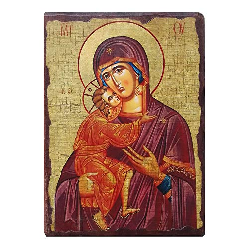 Holyart Russische Ikone, Malerei und D?coupage, Gottesmutter von Wladimir, 30x20 cm