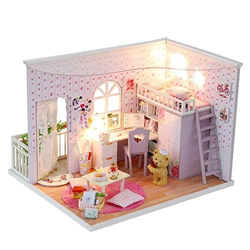 NAN Holzpuppenhaus DIY Bausatz Miniatur Basteln 3D DIY Modellhaus Mit LED Leuchten Als Geburtstagsgeschenk Und Heimgeschenk