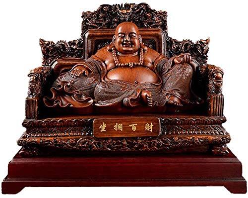 HYBUKDP Statuen Skulpturen Home Decoration Crafts Chinese Feng Shui Lachen Buddha-Statuen und Figuren Glück Gott des Reichtums auf Emperor`s Drachen Stuhl-Skulptur, Inneneinrichtungen Congratulatory G