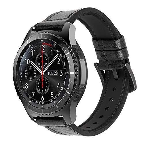 iBazal 22mm Cinturino Pelle Cuoio Ibrida Gomma Silicone Compatibile con Samsung Galaxy Watch 3 45mm Gear S3 Frontier Classic,Galaxy Watch 46mm,Huawei GT,Ticwatch Pro -Orologio Non Incluso- Ibrido Nero