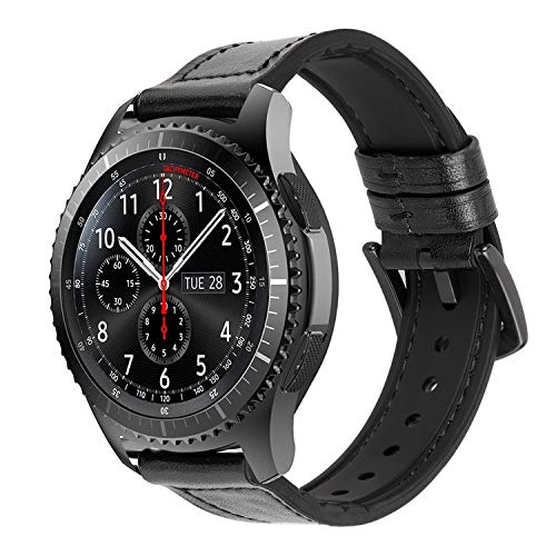 Correas Cuero iBazal 22mm Ibrida Gomma Pulseras Bandas Compatible con Samsung Galaxy Watch 46mm,Gear S3 Frontier Classic,Huawei GT/2 Classic/Honor Magic,Ticwatch Pro Hombres(Reloj No Incluido) - Negro