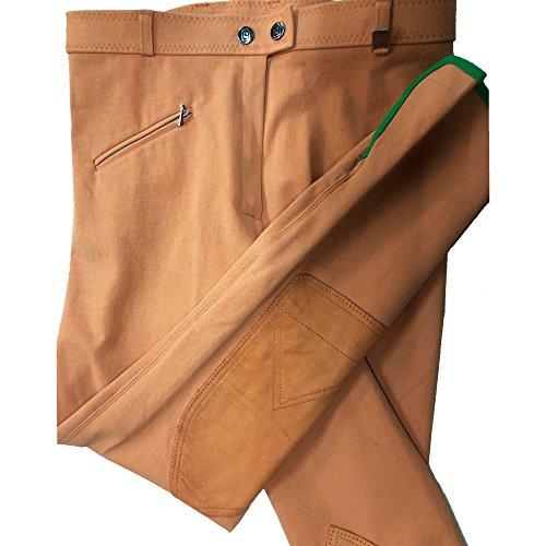 Cavallo Damen Reithose Derby mit Kniebesatz in Hosenfarbe, Reissverschlußtasche, Beinabschluss Klett, strapazierfähige und hochelastische Microfaser (84, Apricot)