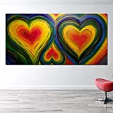 N / A Art Poster School Living Room Decoration Painting Large Heart-Shaped Wall Painting Giant Canvas Painting Frameless 50x100cm