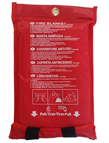 Botiquín Sans, faltbare Feuerlöschdecke inkl. roter Schutzhülle und integrierter Öse, Maße: 120 x 120 cm