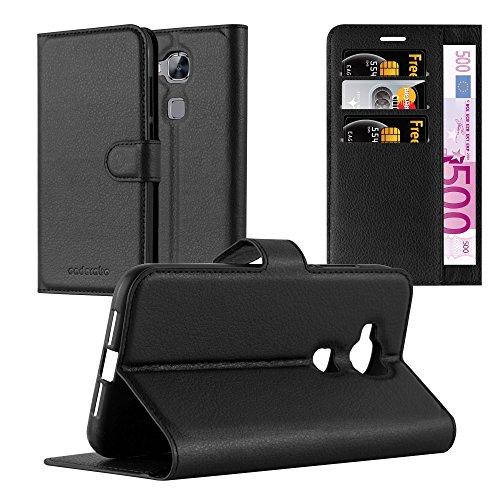 Cadorabo Hülle für Huawei G7 Plus / G8 / GX8 in Phantom SCHWARZ - Handyhülle mit Magnetverschluss, Standfunktion & Kartenfach - Hülle Cover Schutzhülle Etui Tasche Book Klapp Style