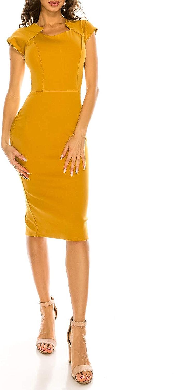 MissMissy Womens Business Bodycon Knee Length Pencil Skirt Short Sleeve Round Neck Work Dress D1756IN