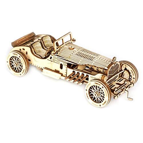 HYLL 3D Puzzle Cerebro Teasers DIY Building Model Kits Woodcraft Mecanical Construction Kits para niños y Adultos, V8 Grand Prix Car