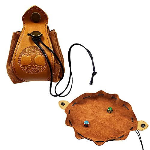 Rollooo Celtic Tree Dice Bag - Tray with Drawstring & Button Genuine Leather DND Dice Pouch Storage Bag for d&d Dices Jewelry Coin & Small Accessories