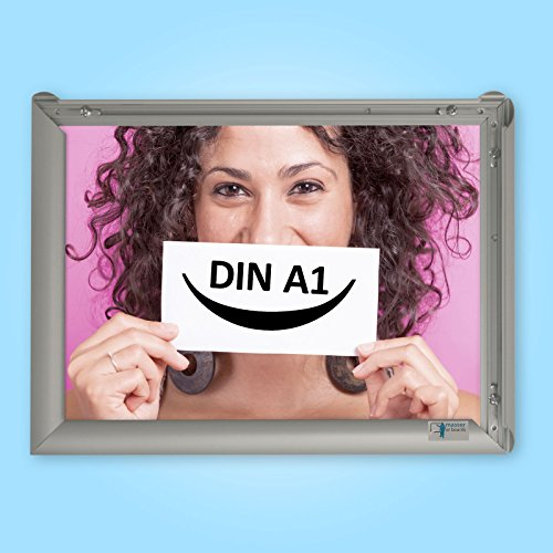 DIN A1 Alu Klapprahmen Plakatrahmen Wechselrahmen Bilderrahmen Ladeneinrichtung Silber Aluminium Rahmen für Plakate Rahmen für Bilder