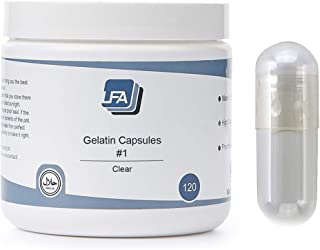 LFA Empty Gelatin Capsules Size 1 - Clear Fillable Supplement Pill - 120 Count