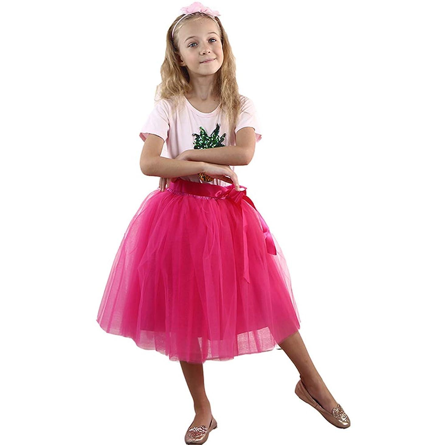 Zcaynger Girls Skirt Tutu Dancing Dress 5-Layer Fluffy with Ribbon