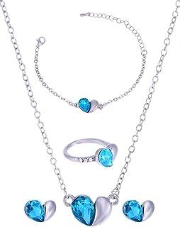 Jewelora Women's Austrian Crystal Heart Jewelry Set [5139]