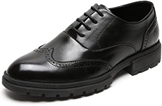 Bin Zhang Business Oxford for Men Formal Dress Shoes Lace Up Microfiber Leather Waxy Shoelaces Wingtip Brogue Lug Sole Split Joint Pointed Toe (Color : Black, Size : 5.5 UK)