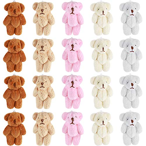 20 Pieces Mini Bear Small Bears Doll Plush Soft Animal Toys Tiny Stuffed Bear for Birthday Cake Wedding Decorations Party Favors, 5 Colors