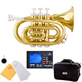 Mendini MPT Brass Bb Pocket Trumpet + Tuner, Case, Mouthpiece, & More (Gold)