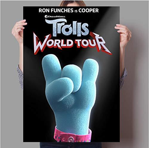 PCCASEWIND Rahmenlose Malerei,Fantasy Song Und Tanz Anime Troll World Tour Konzert Home Wand Kinderzimmer Dekorative Kunst Poster 50X70Cm,A-1203