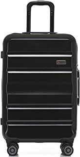QANTAS Melbourne 68cm 4 Wheel Trolley Suitcase, (Black), (QF970-68-A)