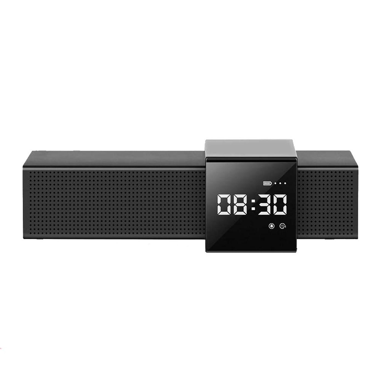 毛布物理化学携帯用ブルートゥースのスピーカー、導かれた表示温度力の表示が付いているデジタル目覚し時計、20時間2000mahを使用して、Iphone/samsung/touchの制御,Black