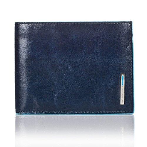 PIQUADRO Blue Square Portafoglio uomo con portamonete in Vera Pelle blu notte PU1392B2/BLU