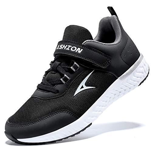 ASHION Kinder Turnschuhe Jungen Sport Schuhe Mädchen Kinderschuhe Sneaker Outdoor Laufschuhe für Unisex-Kinder(I Schwarz Weiß,38 EU)