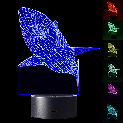 YiaMia 3D Shark LED Night Light Multi 7 Color Changing Touch Switch Optical Table Lamp USB Powered for Home Room Bar Party Festival Decor Kids Room Decoration