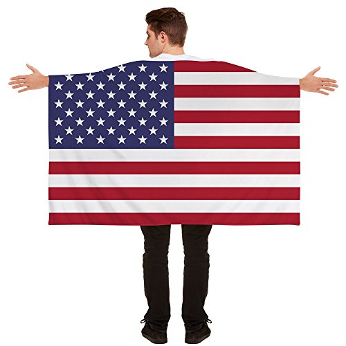 I LOVE FANCY DRESS LTD FLAGGEN UMHANG ANZIEHBARE NATIONAL Fahnen Party Sport Tennis Fussball Supporter Fan = ABMESSUNGEN SIND UNGEFÄHR = 152cm x 91cm = Amerika