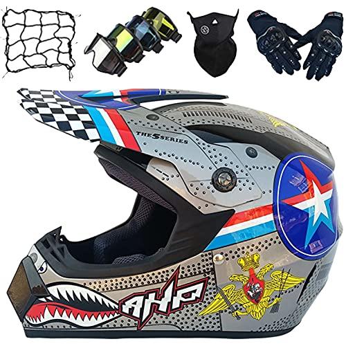 Casco Moto Integral NiñOs, Conjunto Cascos Motocross con Gafas Descenso/Guantes/MáScara/Red EláStica (5 Piezas) Cascos Moto Adultos para MTB Quad Bike Dirt Bike BMX Off Road - Gris