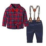Neugeborene Jungen Hosen Sets Gentleman Langarm Shirt Tops + Baby Hose Junge+Hosenträger Hosen Set Outfits Hochzeit Baby Outfits(Rot schwarz,4-5 Jahre)