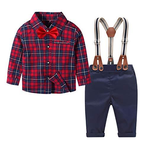 Yilaku Baby Jungen Anzug Gentleman Hosenträger Hosen & Hemd mit Krawatte Bekleidung Set 4 Teiliges Baby Set Jungen Festliche Kleidung Geburtstag Kleid(Rot schwarz,9-12 Monate)