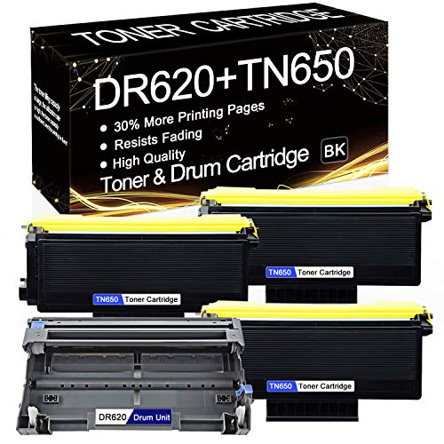 4-Pack (3-Pack TN-650 Toner, 1-Pack DR-620 Drum) Compatible Toner & Drum Cartridge Replacement for Brother HL-5350DNLT HL-5370DW HL-5370DWT HL-5380DN MFC-8370 MFC-8460N MFC-8470DN DCP-8080DN Printers.