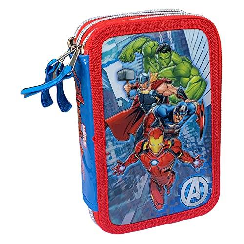 M.C. srl Astuccio Scuola 3D Avengers Marvel MULTISCOMPARTO 3 Zip PORTACOLORI Carioca - AV0719