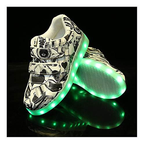 WXBYDX Kinderschuhe Mit Licht In Der Sohle, 7 Farben LED Light Up Turnschuhe USB Aufladen Leuchtschuhe Licht Sport SneakerBlack-34