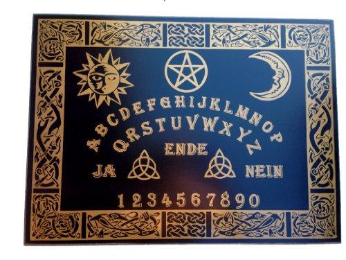 Wildkräuterhex Witchboard Celtic, handgearbeitet, aus Teakholz-Furnier, schwarz mit keltischen Motiven, mit Planchette, 58x43 cm, Hexenbrett#