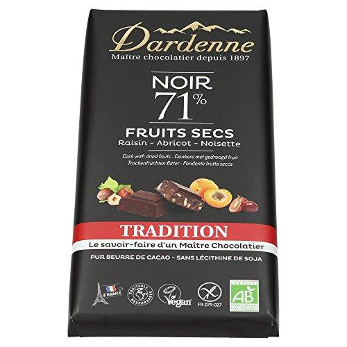 DARDENNE Tablette Chocolat Noir Fruits Secs Tradition 180 g - Lot de 10