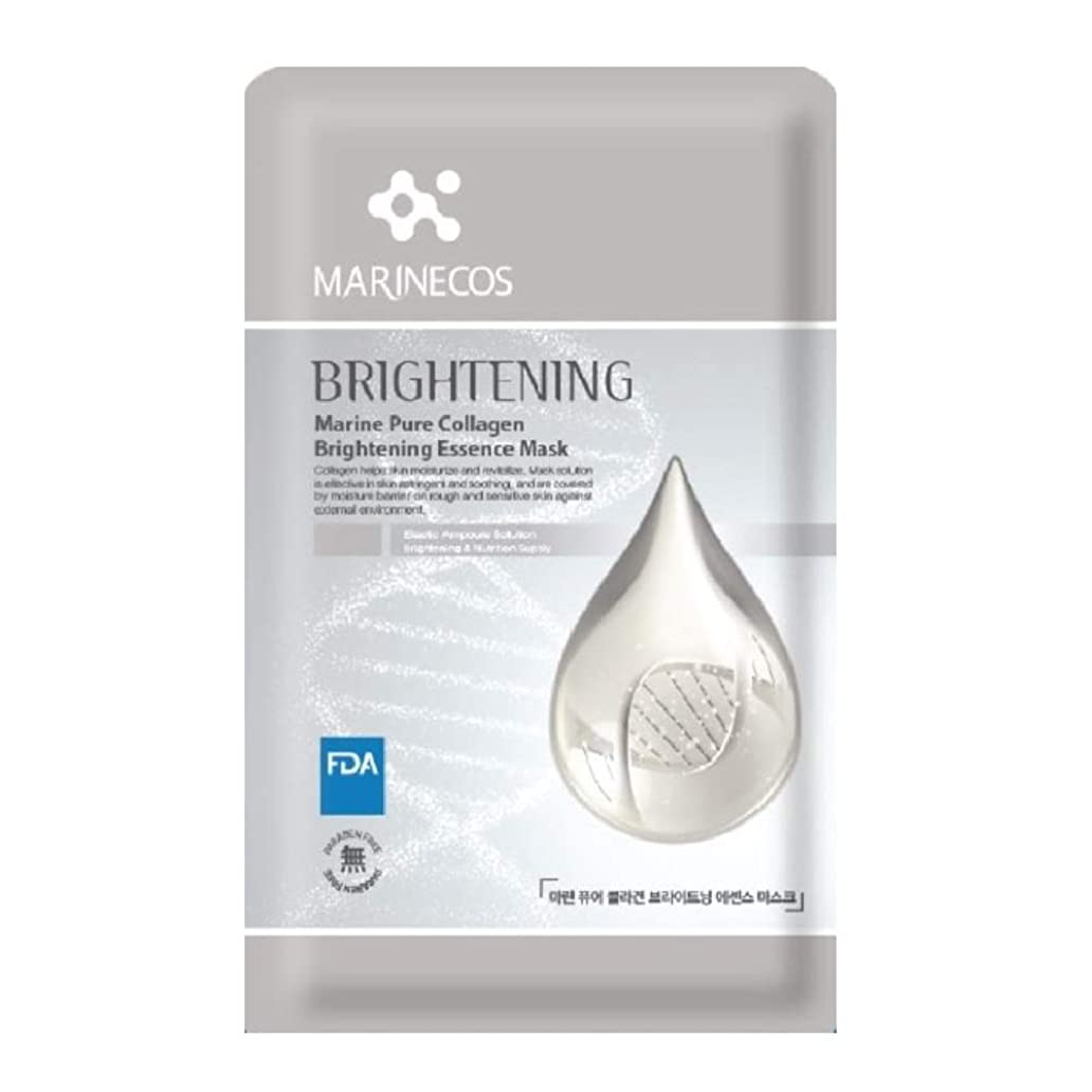 満了報告書ベーコンKorea, Beauty, Marine Pure Collagen Brightening Essence Mask 10 Sheets 1 Case 韓国ネーチャー コスメ ビューティー 韓国マスクシート