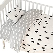 CC Shop Lovely Baby Toddler Flat Bed Sheet Not Fitted Sheet, Pillowcase, Quilt Cover No Comforter, 3pcs Crib Bedding Set (Tree & Cloud)