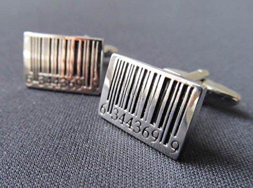 Strichcode Manschettenknöpfe Miniblings Knöpfe + Box Barcode Code Scanner silber - 5