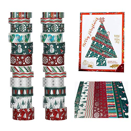 Christmas Holiday Washi Tape Set Xmas Winter Foil Washi Masking Tape Bullet Journal Kids Chirstmas Craft Supplies with Snowflake Tree Deer Striped, Perfect for Christmas Card Gift Wrapping 24 Rolls