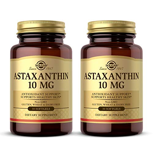 Solgar Astaxanthin 10 mg, 30 Softgels - 2 Pack - Potent Antioxidant Protection, Supports Healthy Skin Glow - with Naturally Occurring Lutein & Beta Carotene - Gluten Free, Dairy Free - 30 Servings